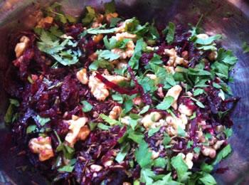 salade van bietjes en walnoten